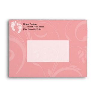 Pink/White Baby Footprints Envelope