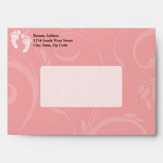 Pink White Baby Footprints Envelopes