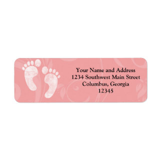 Pink/White Baby Footprints Labels