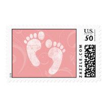 Pink/White Baby Footprints Postage