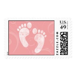Pink/White Baby Footprints Postage Stamp