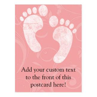 Pink/White Baby Footprints Postcard