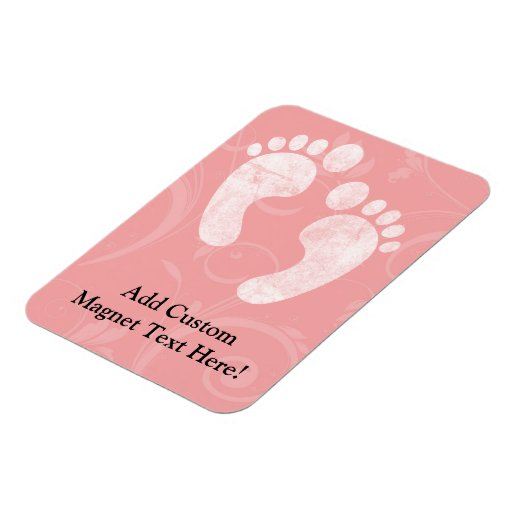 Pink/White Baby Footprints Rectangle Magnets