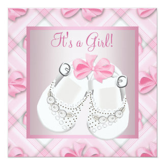 Pink White Baby Shoes Pink Baby Girl Shower Personalized Announcement