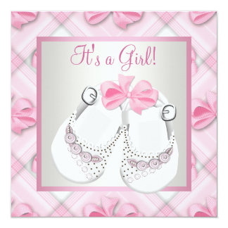 Pink White Baby Shoes Pink Baby Girl Shower Custom Invites