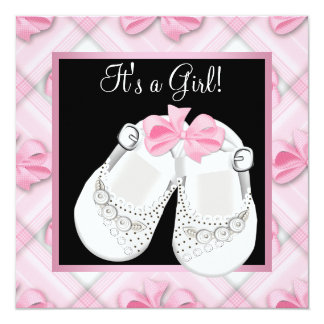 Pink White Baby Shoes Pink Black Baby Girl Shower Custom Invitations