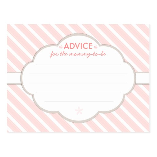 Pink | White Baby Shower Advice for Mommy to Be Postcards