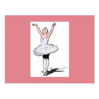 Pink & White Ballet Dancer Ballerina Postcard