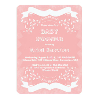 Pink White Banners Floral Baby Shower Invitation
