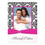 Pink, White, & Black Damask Photo Wedding Invite