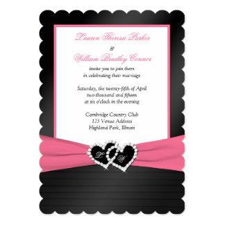 Pink White Black FAUX Pleats Hearts Wedding Invite