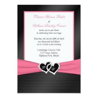 """Pink White Black FAUX Pleats Hearts Wedding Invite 5"""" X 7"""" Invitation Card"""