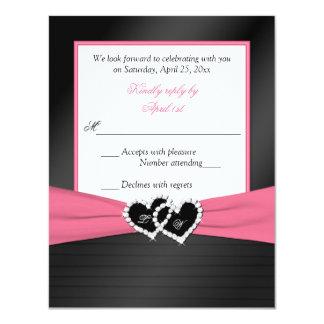 Pink White Black FAUX Pleats Hearts Wedding RSVP Card