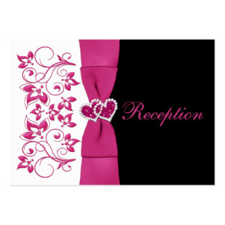Pink, White, Black Floral Wedding Reception Card