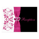 Pink, White, Black Floral Wedding Reception Card Large Business Cards (Pack Of 100)