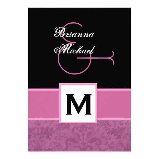 Pink White Black Grunge Damask Monogram Template Custom Announcements