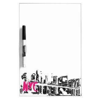 Pink, White, Black, New York Skyline Dry Erase Board
