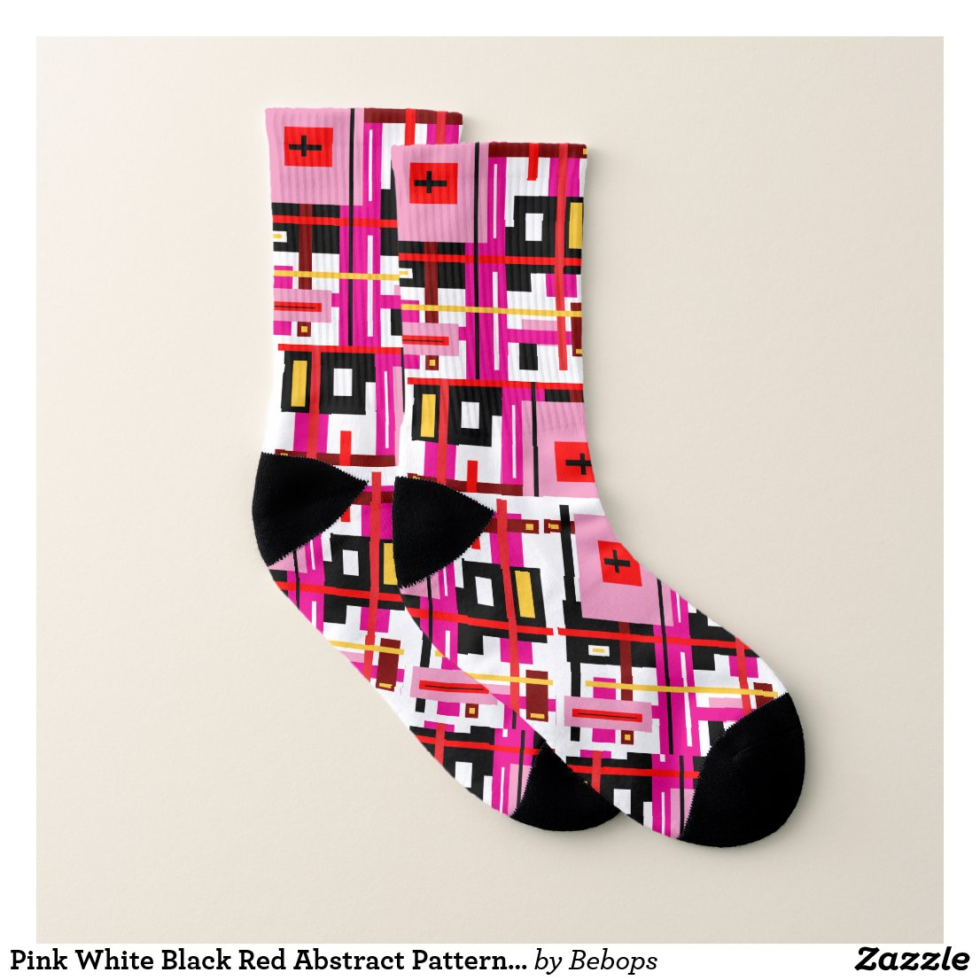 Pink White Black Red Abstract Pattern Socks