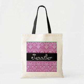 Pink White Black Wedding Damask Bridesmaid Bag