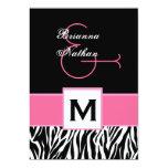 Pink White Black Zebra Template Personalized Invitations