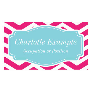 Pink White Blue Chevron Personal Business Card Templates