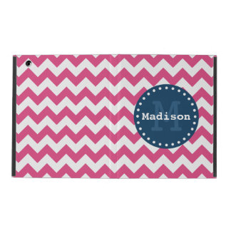 Pink White Blue Chevron Zigzag Monogram iPad Cover