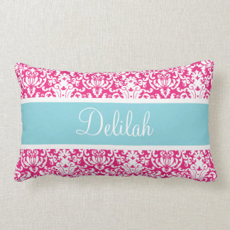 Pink White Blue Damask Custom Lumbar Pillow