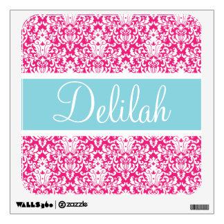 Pink White Blue Damask Custom Wall Decal