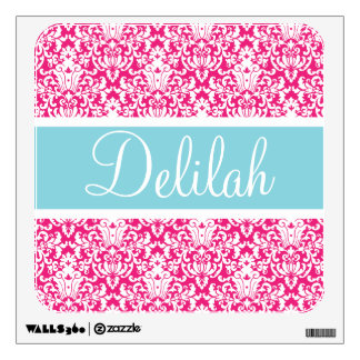 Pink White Blue Damask Custom Wall Skins