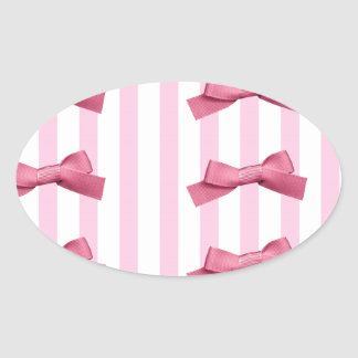 Pink White Bold Stripes Bow Tie Oval Sticker