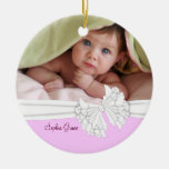 Pink & White Bow Baby Girl Photo Ornament