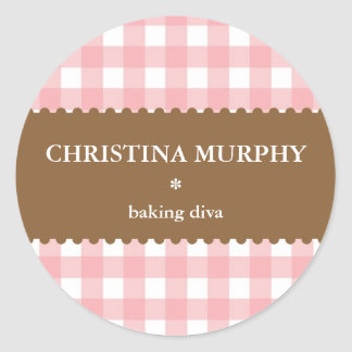 Pink white brown gingham homemade food label seal classic round sticker