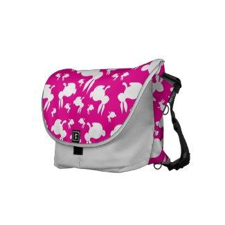 Pink White Bunny Rabbits Messenger Bag