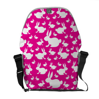 Pink White Bunny Rabbits Messenger Bag