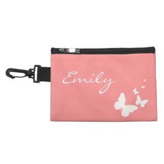 Pink & White Butterfly Diaper Bag Pacifier Holder