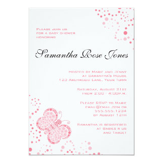 Pink & White Butterfly Elegant Baby Shower Card
