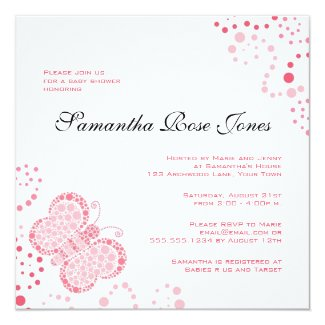 Pink & White Butterfly Elegant Baby Shower Personalized Invitation