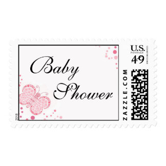 Pink & White Butterfly Elegant Baby Shower Stamps