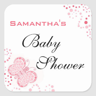 Pink & White Butterfly Elegant Baby Shower Square Sticker