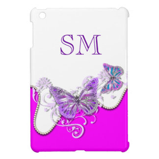 Pink white butterfly monogram iPad mini cases