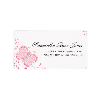 Pink & White Butterfly Pointillism Custom Address Label