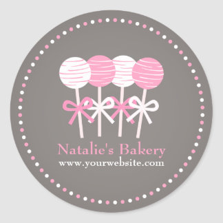 Pink White Cake Pops Bakery Business Promo Sticker