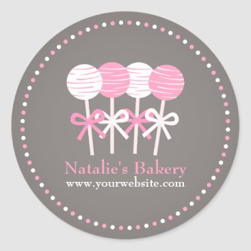 Professional Business Pink White Cake Pops Bakery Business Promo Sticker