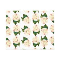 Pink white camellia pattern. canvas print
