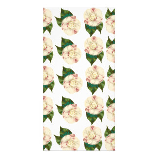Pink white camellia pattern. card