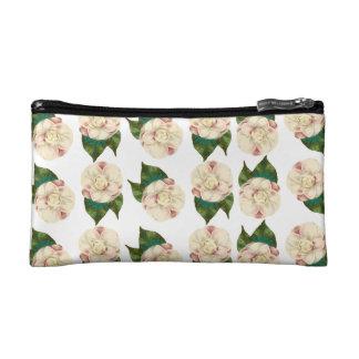 Pink white camellia pattern. makeup bag