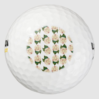 Pink white camellia pattern. pack of golf balls