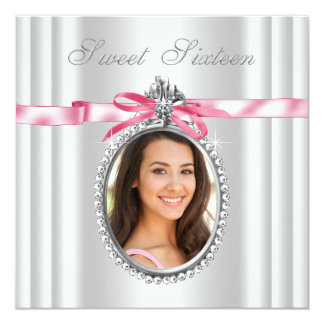 Pink White Cameo Photo Sweet 16 Birthday Party 5.25x5.25 Square Paper Invitation Card