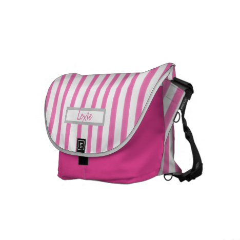 Pink & White Candy Striped Messenger Bag with Name