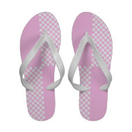 Pink white check Flip-Flops